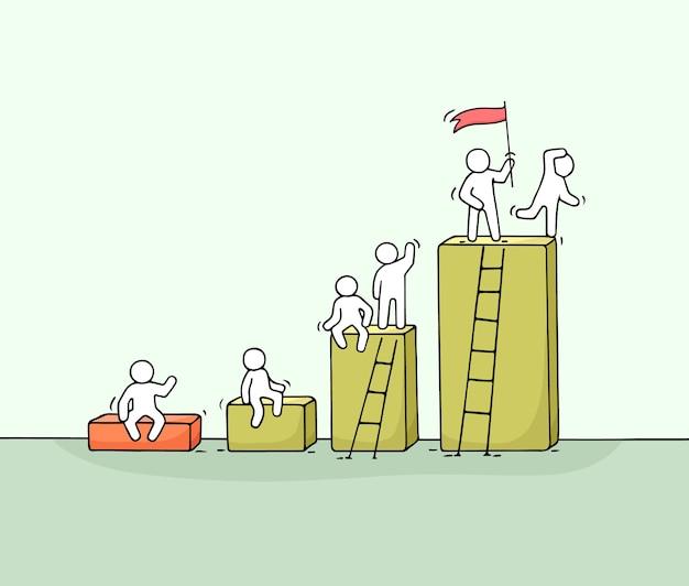 Diagramma del fumetto con piccole persone che lavorano. doodle carino lavoro di squadra in miniatura. illustrazione vettoriale disegnato a mano per progettazione aziendale e infografica.