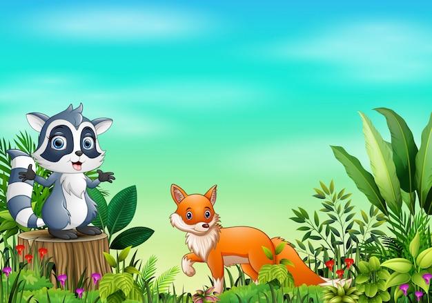 Cartoon diversi animali nel parco