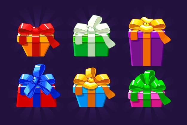 Contenitore di regalo differente colorato di forma e del fumetto, oggetti di vettori.