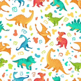 Cartoon dino seamless pattern.