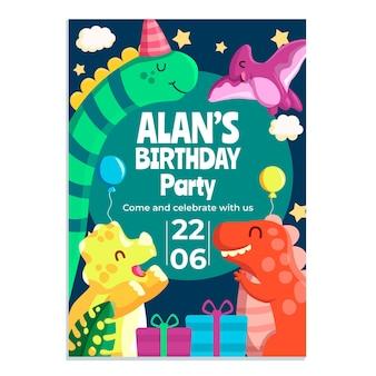 Invito di compleanno del dinosauro del fumetto