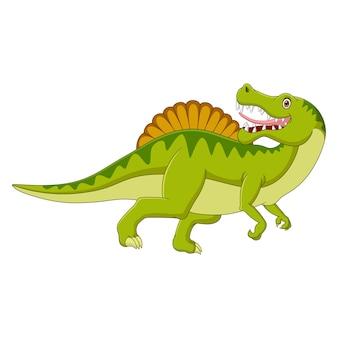 Il dinosauro del fumetto guarda lateralmente su priorità bassa bianca