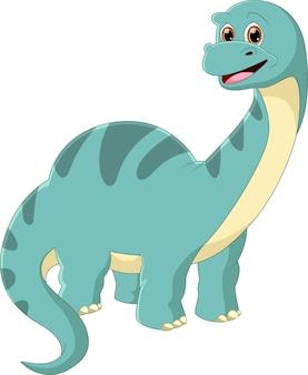 Cartone animato dinosauro sorridente posa su uno sfondo bianco