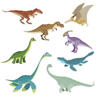 Set di dinosauri del fumetto. collezione di simpatici dinosauri in stile piatto e divertente. predatori ed erbivori animali selvatici preistorici. illustrazione vettoriale isolato su sfondo bianco.