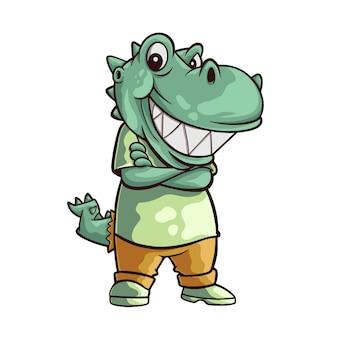 Dinosauro del fumetto con l'illustrazione della faccina sorridente