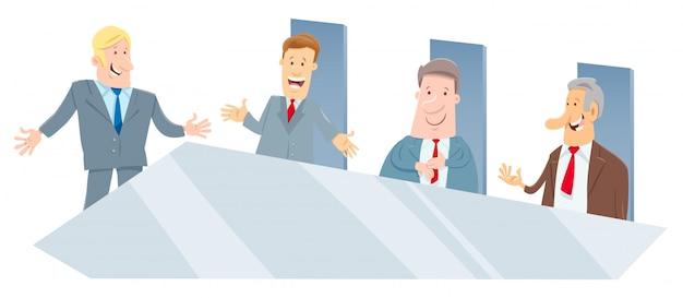 Cartone animato della riunione degli amministratori o degli uomini d'affari
