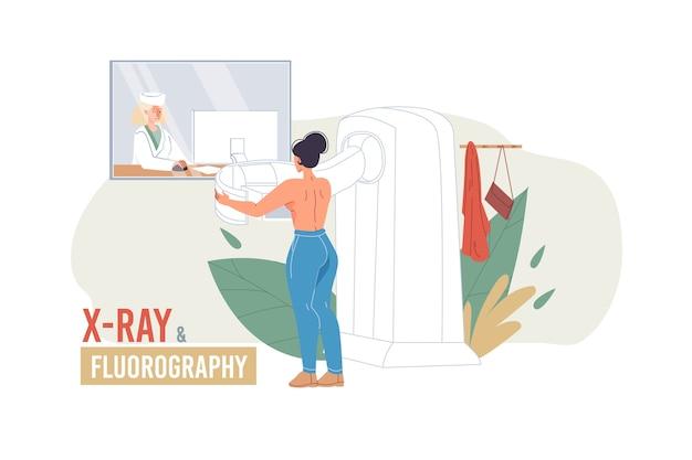Personaggi dei cartoni animati medico in uniforme, camici da laboratorio con dispositivi medici e trattamento paziente-medico e concetto di terapia