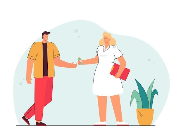 Medico del fumetto che dà medicina all'uomo. illustrazione piatta