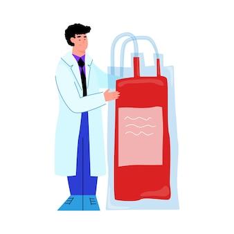 Medico del fumetto che tiene la sacca per trasfusione di sangue dalla donazione del donatore