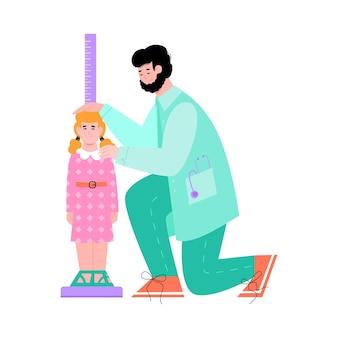 Medico del fumetto che misura la crescita del bambino sul righello verticale