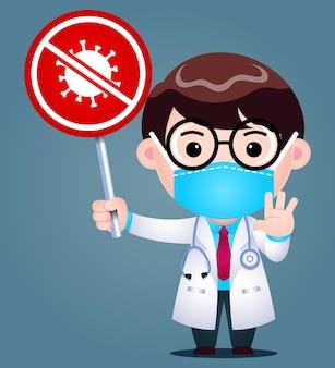 Cartoon doctor wear maschera medica chirurgica holding stop coronavirus sign