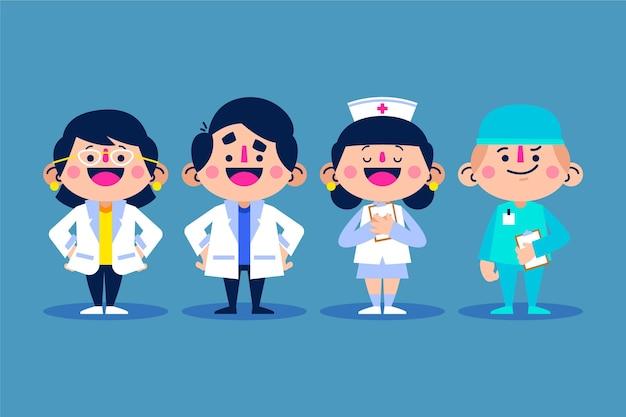 Cartoon medici e infermieri raccolta illustrazione