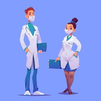 Cartoon medici e infermieri con maschere Vettore Premium