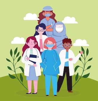 Medici e infermieri dei cartoni animati