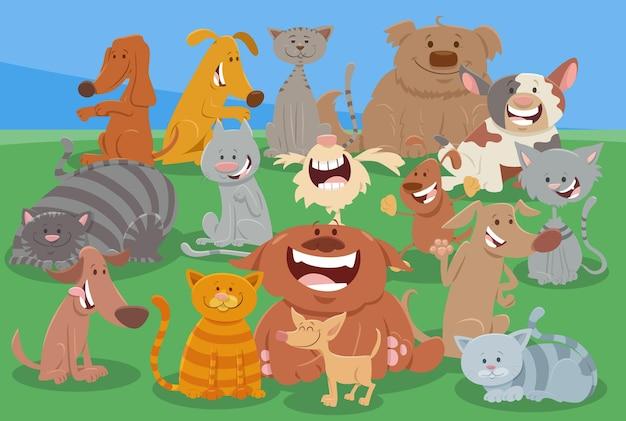 Cartone animato cani e gatti divertente gruppo di personaggi animali Vettore Premium