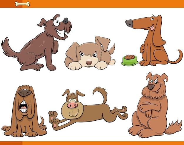 Set di personaggi comici animali di cani e cuccioli dei cartoni animati