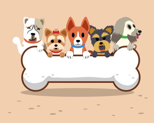 Cani di cartone animato con osso