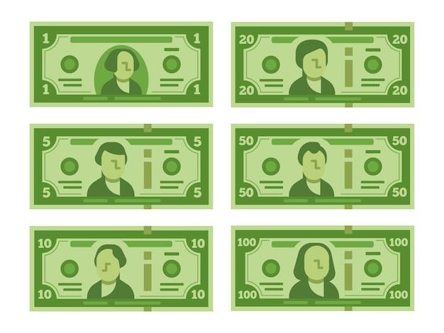 Banconote del dollaro del fumetto. impostato Vettore Premium