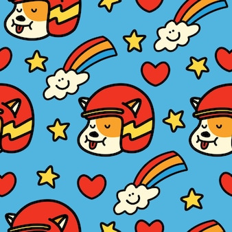 Cartoon doodle cat seamless pattern design