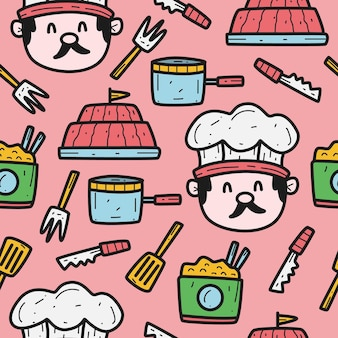 Cartoon doodle chef design pattern