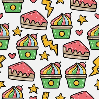Cartoon doodle cupcake pattern design