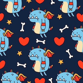 Cartoon doodle dragon seamless pattern design