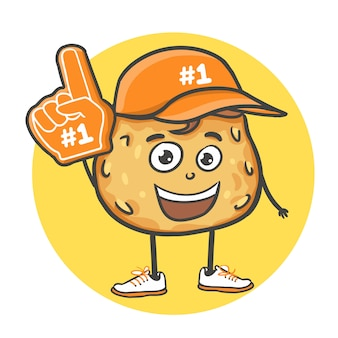 Biscotti disegnati a mano di doodle del fumetto con il numero 1 un guanto a mano