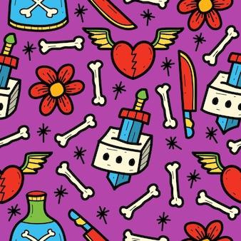 Cartoon doodle kawaii tattoo pattern design