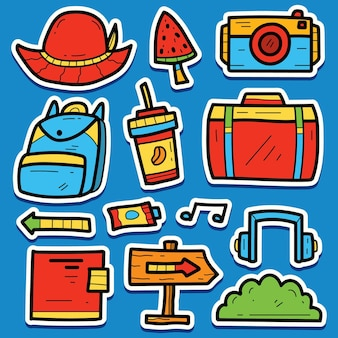 Cartoon doodle kawaii travel sticker design