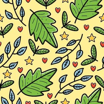 Cartoon doodle foglia seamless pattern design