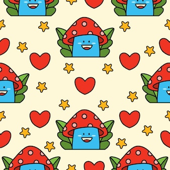 Cartoon doodle fungo seamless pattern design