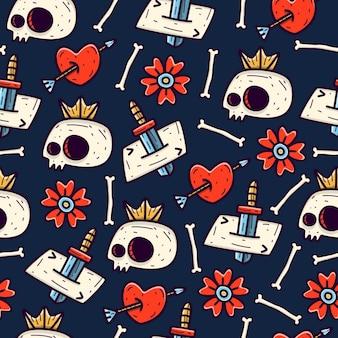Cartoon doodle cranio seamless pattern design