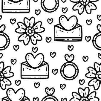 Cartoon doodle valentin seamless pattern