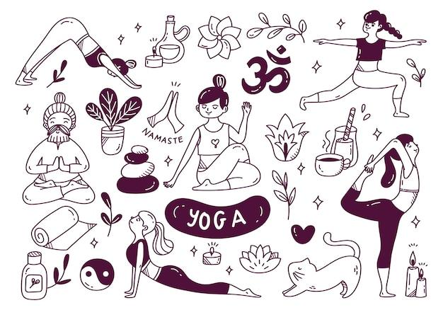 Doodle del fumetto della donna che fa yoga in varie pose