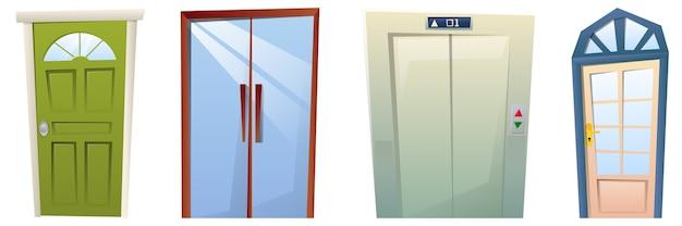 Set di porte del fumetto, porte anteriori moderne e ascensori