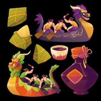 Accumulazione dell'elemento della barca del drago del fumetto