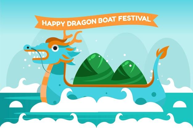 Cartoon dragon boat illustrazione