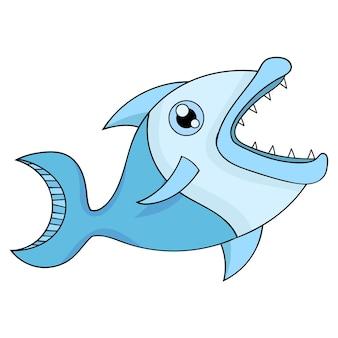 Disegno animato di pesce con denti aguzzi