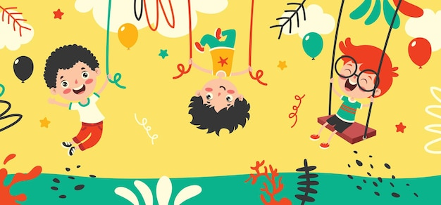 Disegno animato di un personaggio felice che oscilla