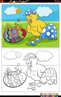 Cartone animato pulcino di pasqua covato da uovo da colorare pagina del libro Vettore Premium