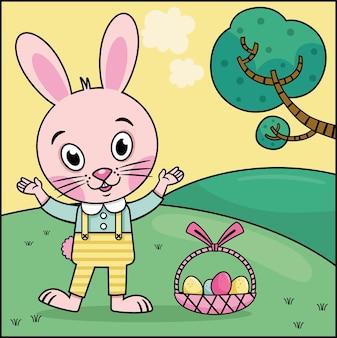Coniglio di pasqua del fumetto sull'illustrazione di vettore della natura