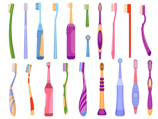 Cartoon elettrico e manuale strumenti per l'igiene dentale spazzolini da denti. prodotti per l'igiene orale e la salute dei denti. insieme di vettore di spazzolino da denti per la pulizia della bocca. attrezzatura personale per la routine orale mattutina Vettore Premium