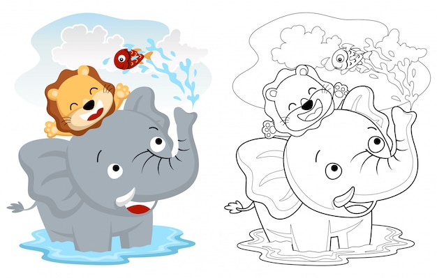 Cartone animato di elefante e leone giocando acqua con pesciolino