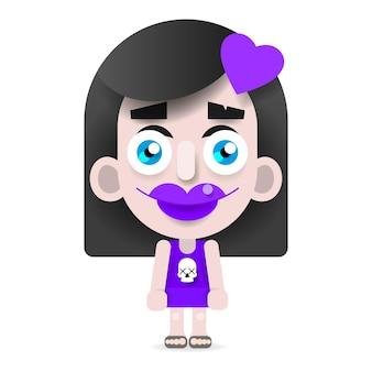 Cartoon emo girl illustrazione vettoriale su sfondo bianco per il tuo design