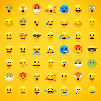 Collezione di emoji dei cartoni animati.