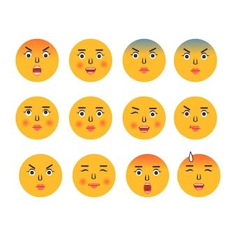 Emoticon dei cartoni animati icone emoji emoticon dei social media sorriso facce gialle che esprimono emozione