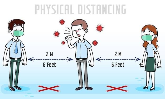 Dipendente di cartone animato con sintomi di coronavirus covid-19 che tossisce intorno ai partner dell'ufficio
