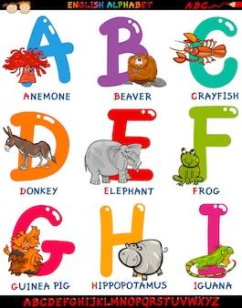 Alfabeto inglese di cartone animato con animali