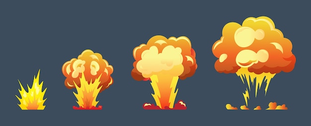 Fotogrammi di animazione esplosione del fumetto per il gioco