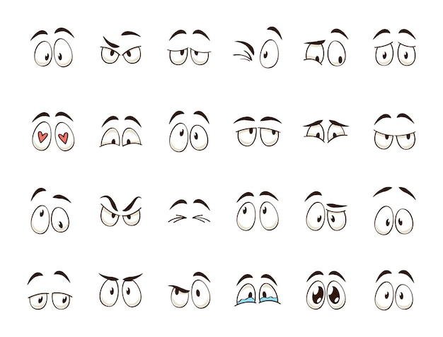 Occhi del fumetto. espressioni di occhi e sopracciglia del personaggio comico sorridenti, piangenti e sorpresi. emozioni o emoticon di scarabocchio di caricatura. set di icone di illustrazione vettoriale isolato